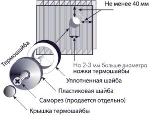Фото: Схема точечного крепления листов поликарбоната